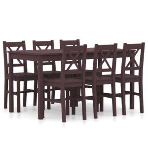 7 pcs conjunto de jantar em madeira de pinho castanho-escuro - PORTES GRÁTIS