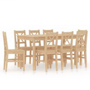 9 pcs conjunto de jantar em madeira de pinho - PORTES GRÁTIS