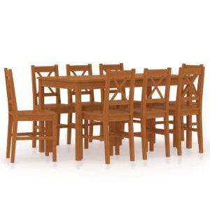 9 pcs conjunto de jantar em madeira de pinho castanho mel - PORTES GRÁTIS