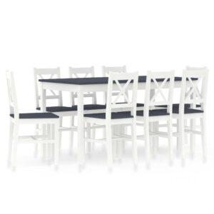 9 pcs conjunto de jantar em madeira de pinho branco e cinzento - PORTES GRÁTIS