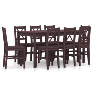 9 pcs conjunto de jantar em madeira de pinho castanho-escuro - PORTES GRÁTIS