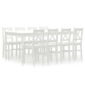 9 pcs conjunto de jantar em madeira de pinho branco - PORTES GRÁTIS