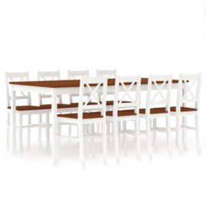 9 pcs conjunto de jantar em madeira de pinho branco e castanho - PORTES GRÁTIS