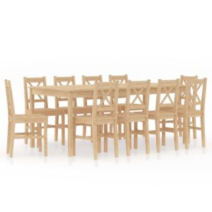 11 pcs conjunto de jantar em madeira de pinho - PORTES GRÁTIS