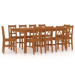 11 pcs conjunto de jantar em madeira de pinho castanho mel - PORTES GRÁTIS