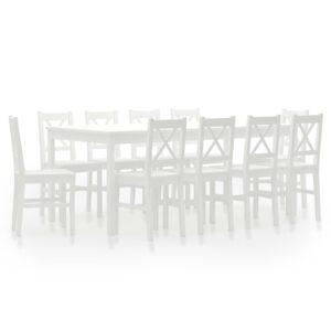 11 pcs conjunto de jantar em madeira de pinho branco - PORTES GRÁTIS