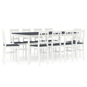 11 pcs conjunto de jantar em madeira de pinho branco e cinzento - PORTES GRÁTIS