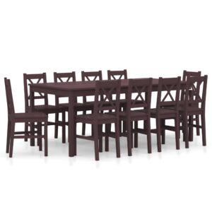 11 pcs conjunto de jantar em madeira de pinho castanho-escuro - PORTES GRÁTIS