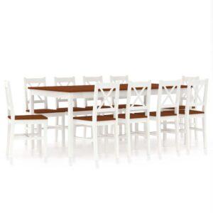 11 pcs conjunto de jantar em madeira de pinho branco e castanho - PORTES GRÁTIS