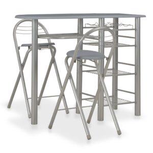 3 pcs conjunto de bar com prateleiras madeira e aço cinzento - PORTES GRÁTIS