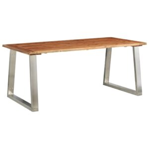 Mesa de jantar 180x90x75 cm acácia maciça e aço inoxidável  - PORTES GRÁTIS
