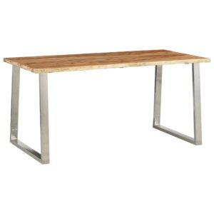 Mesa de jantar 160x80x75 cm acácia maciça e aço inoxidável  - PORTES GRÁTIS