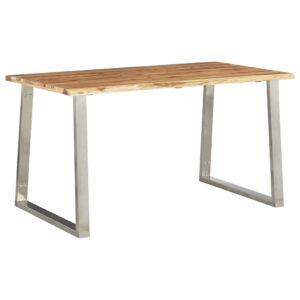 Mesa de jantar 140x80x75 cm acácia maciça e aço inoxidável  - PORTES GRÁTIS