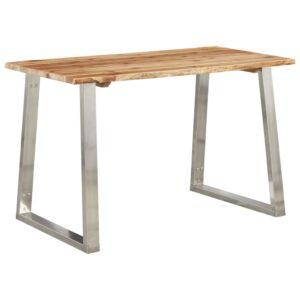 Mesa de jantar 120x65x75 cm acácia maciça e aço inoxidável  - PORTES GRÁTIS
