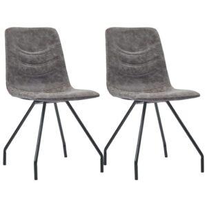 Cadeiras de jantar 2 pcs couro artificial castanho-escuro - PORTES GRÁTIS