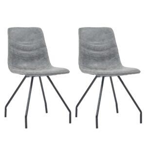 Cadeiras de jantar 2 pcs couro artificial cinzento-escuro - PORTES GRÁTIS