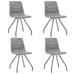 Cadeiras de jantar 4 pcs couro artificial cinzento-escuro - PORTES GRÁTIS