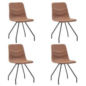 Cadeiras de jantar 4 pcs couro artificial castanho - PORTES GRÁTIS