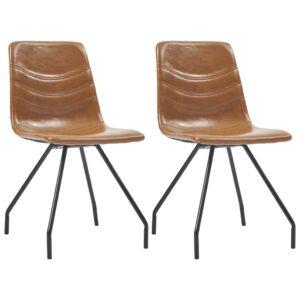 Cadeiras de jantar 2 pcs couro artificial conhaque - PORTES GRÁTIS