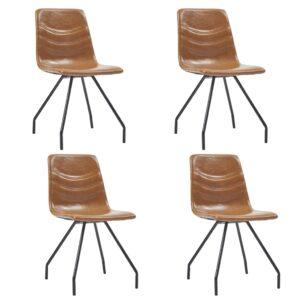 Cadeiras de jantar 4 pcs couro artificial conhaque - PORTES GRÁTIS
