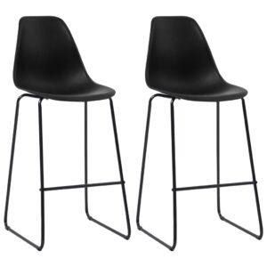Cadeiras de bar 2 pcs plástico preto - PORTES GRÁTIS
