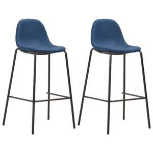 Cadeiras de bar 2 pcs tecido azul - PORTES GRÁTIS
