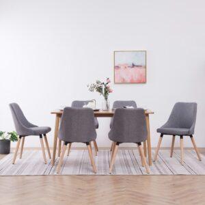Cadeiras de jantar 6 pcs tecido cinzento-claro - PORTES GRÁTIS