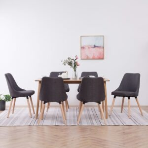 Cadeiras de jantar 6 pcs tecido cinzento-escuro  - PORTES GRÁTIS