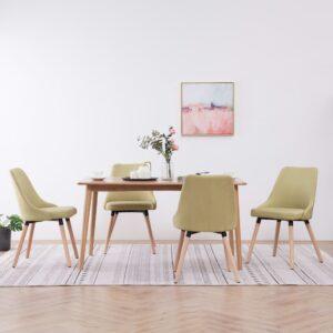 Cadeiras de jantar 4 pcs tecido verde - PORTES GRÁTIS