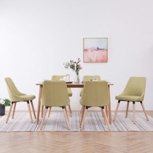 Cadeiras de jantar 6 pcs tecido verde - PORTES GRÁTIS