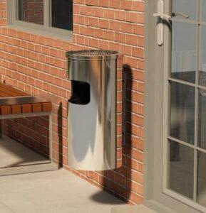 Caixote do lixo com cinzeiro para parede 26 L aço inoxidável - PORTES GRÁTIS