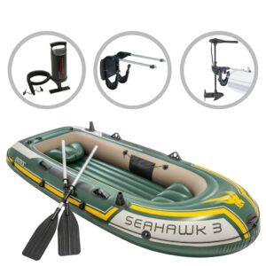 Intex Conjunto barco insuflável Seahawk 3 com motor trolling e suporte - PORTES GRÁTIS