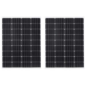 Painéis solares 2pcs 100W al. monocristalino/vidro de segurança - PORTES GRÁTIS
