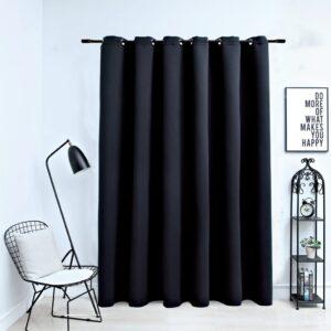 Cortina blackout com argolas em metal 290x245 cm preto - PORTES GRÁTIS