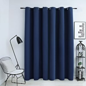 Cortina blackout com argolas em metal 290x245 cm azul - PORTES GRÁTIS