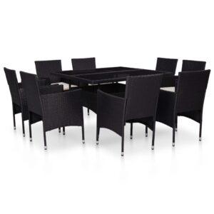 9 pcs conjunto jantar p/ exterior vime PE e vidro preto - PORTES GRÁTIS