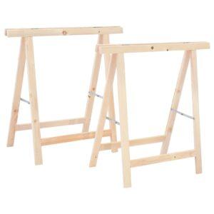 Cavaletes dobráveis 2 pcs madeira de pinho FSC - PORTES GRÁTIS