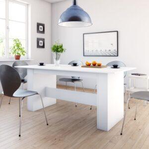 Mesa de jantar 180x90x76 cm contraplacado branco - PORTES GRÁTIS