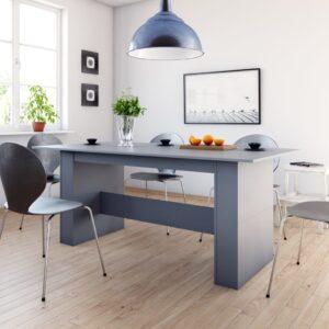 Mesa de jantar 180x90x76 cm contraplacado cinzento - PORTES GRÁTIS