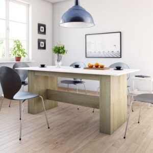 Mesa de jantar 180x90x76 cm contrapl. branco e carvalho sonoma - PORTES GRÁTIS