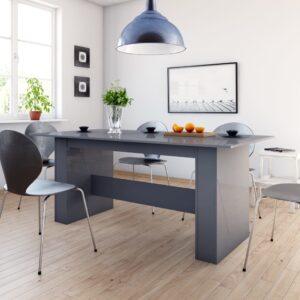 Mesa de jantar 180x90x76 cm contraplacado cinzento brilhante - PORTES GRÁTIS