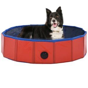 Piscina para cães dobrável 80x20 cm PVC vermelho - PORTES GRÁTIS