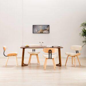 Cadeiras jantar 4 pcs madeira curvada e couro artificial creme - PORTES GRÁTIS
