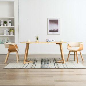 Cadeiras jantar 2 pcs madeira curvada e couro artificial creme - PORTES GRÁTIS