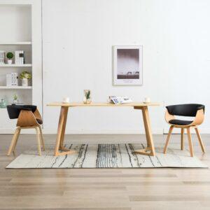 Cadeiras jantar 2 pcs madeira curvada e couro artificial preto - PORTES GRÁTIS