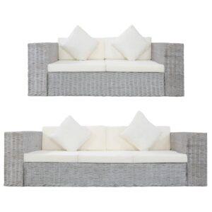 2 pcs conjunto de sofás com almofadões vime natural cinzento - PORTES GRÁTIS