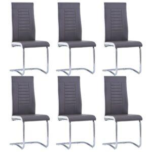 Cadeiras de jantar 6 pcs couro artificial cinzento - PORTES GRÁTIS