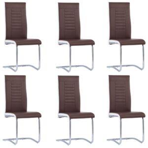 Cadeiras de jantar 6 pcs couro artificial castanho - PORTES GRÁTIS