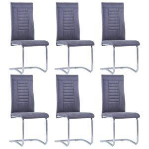 Cadeiras de jantar 6 pcs camurça artificial cinzento - PORTES GRÁTIS