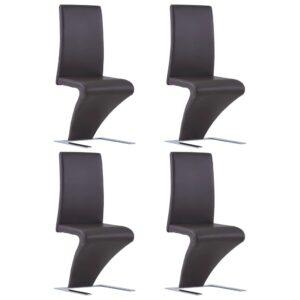 Cadeiras de jantar ziguezague 4 pcs couro artificial castanho - PORTES GRÁTIS